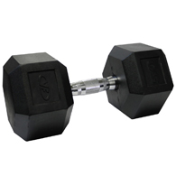 Valor Fitness RH-50 50lb Rubber Hex Dumbbell-Single